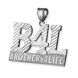 B4L Brothers 4 Life Mens DC Pendant in White Gold