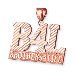 B4L Brothers 4 Life Mens DC Pendant in Rose Gold