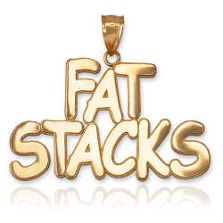 FAT STACKS Polished Yellow Gold Hip-Hop Pendant
