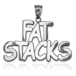 FAT STACKS Polished White Gold Hip-Hop Pendant