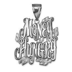MONEY HUNGRY White Gold Hip-Hop Pendant
