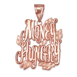 MONEY HUNGRY Rose Gold Hip-Hop Pendant