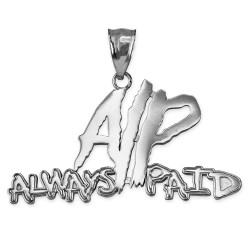 ALWAYS PAID Polished White Gold Hip-Hop Pendant