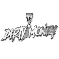 DIRTY MONEY Polished White Gold Pendant