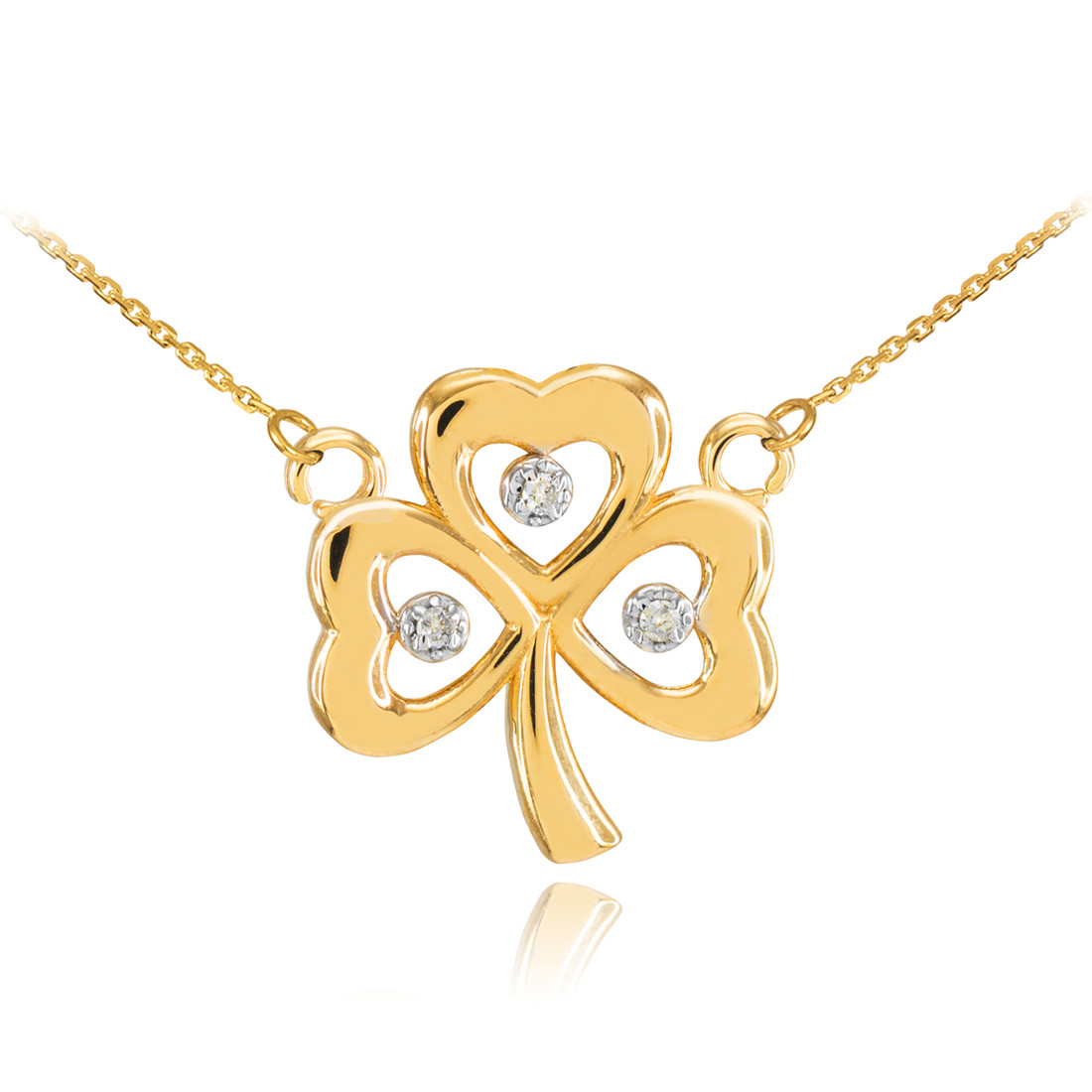 14k Yellow Gold Irish Celtic Shamrock 3 Leaf Clover Pendant Rope Chain Necklace
