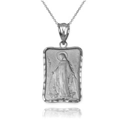 White Gold Virgin Mary Miraculous Satin DC Pendant Necklace