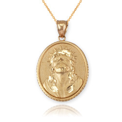 Yellow Gold Jesus Christ Oval Medallion Satin DC Pendant Necklace
