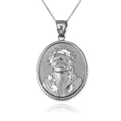 White Gold Jesus Christ Oval Medallion Satin DC Pendant Necklace