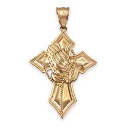 Yellow Gold Praying Hands Catholic Cross Pendant