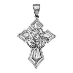 White Gold Praying Hands Catholic Cross Pendant