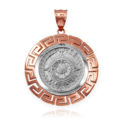 Two-Tone Rose Gold Aztec Mayan Sun Calendar Pendant