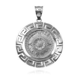 Sterling Silver Aztec Mayan Sun Calendar Pendant
