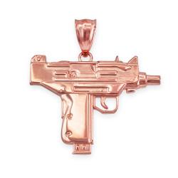 Rose Gold Uzi Submachine Gun Pendant