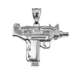 Silver Uzi Gun Pendant