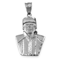 Sterling Silver El Chapo Guzman Satin DC Pendant