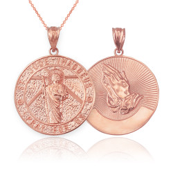 Rose Gold St. Jude Reversible Pray Medal Pendant Necklace