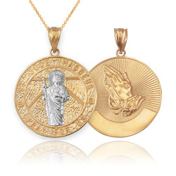 Two-Tone Yellow Gold St. Jude Reversible Pray Pendant Necklace