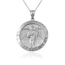 White Gold St. Jude Thaddeus Pendant Necklace