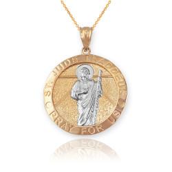 Two-Tone Yellow Gold St. Jude Thaddeus Pendant Necklace