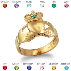 Gold Claddagh Birthstone Ring