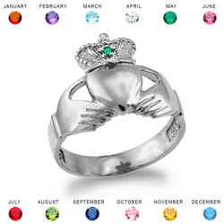White Gold Claddagh Birthstone Ring