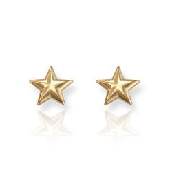 14K Yellow Gold Star Post Earrings