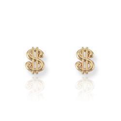 14K Yellow Gold Cash Money Dollar Sign Post Earrings