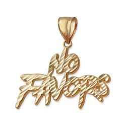 NO FAVORS Sparkle-cut Gold Hip Hop Pendant
