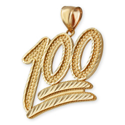 Gold 100 Emoji Sparkle-cut Pendant