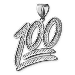 Sterling Silver 100 Emoji Sparkle-cut Pendant