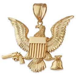 Gold Eagle Gun Money Bag Mens Large DC Hip-Hop Pendant