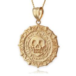 Gold Aztec Coin Caribbean Pirates Skull Pendant Necklace