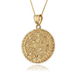 Gold Aztec Mayan Calendar Necklace