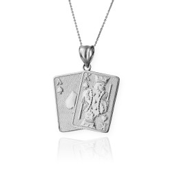 Silver Ace and King of Spades Blackjack 21 Hand Cards Charm Necklace