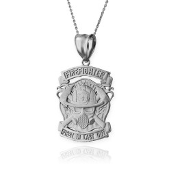 Silver Firefighter Necklace