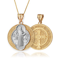 Gold Saint Benedict Medal Reversible Pendant Necklace