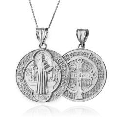 Sterling Silver Saint Benedict Medal Reversible Pendant Necklace
