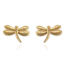 Dragonfly earrings in 14k yellow gold