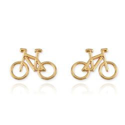 Gold bike earrings
