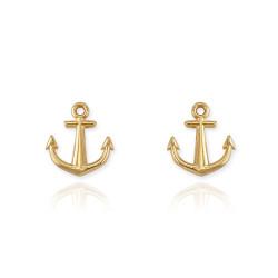 14K Yellow Gold Nautical Anchor Stud Earrings