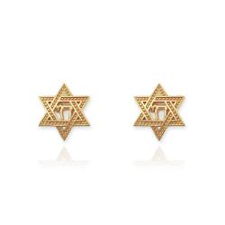14K Yellow Gold Star Of David Chai Stud Earrings