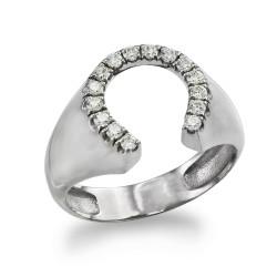 Silver horseshoe ring for men.
