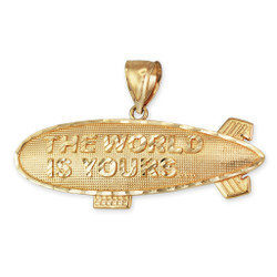 The World is Yours Blimp Pendant in Gold
