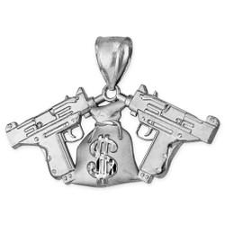 Sterling Silver Money Bag Dual Uzi Gun Satin DC Hip-Hop Pendant