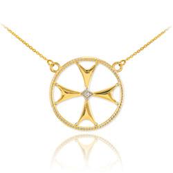 14k Gold Diamond Maltese Cross Womens Necklace