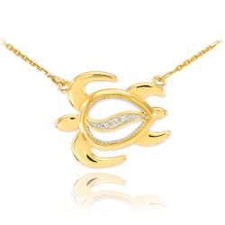 14k Gold Hawaiian Diamond Turtle Necklace