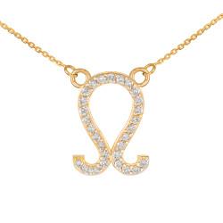 14K Gold Leo Zodiac Sign Diamond Necklace