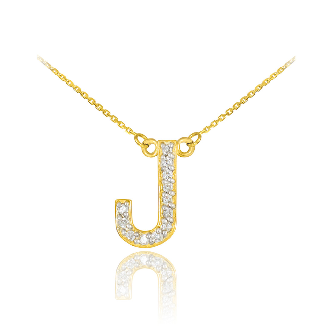 LA BLINGZ 10K Rose Gold Letter W Initial Pentagon Pendant Necklace