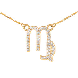 14K Gold Virgo Zodiac Sign Diamond Necklace