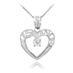 925 Sterling Silver 15 Anos Heart CZ Pendant Necklace